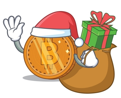 Santa with gift bitcoin coin character cartoon vector illustration