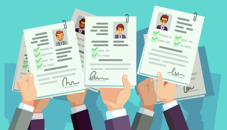 Job competition. Candidates hold cv resume. Recruitment and human resource vector concept